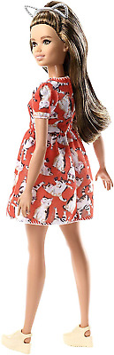 Barbie FJF57 Fashion and Beauty Fashionistas Doll-Kitty Dress-Petite with...