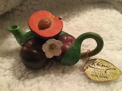 Khien Miniature Ceramic Teapot Bunch Of Plums With Lid