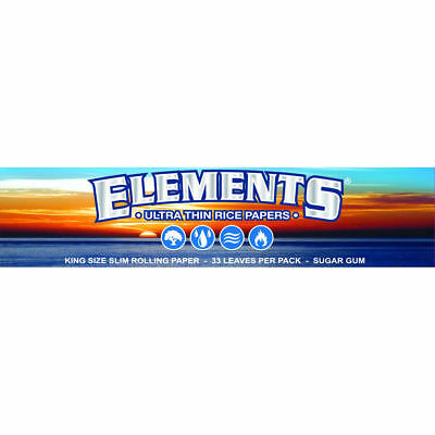 Elements King Size Slim Rolling Paper - 1 PACK - Natural Ultra Thin Rice