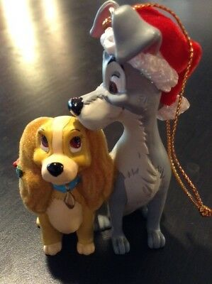 Disney Lady and the Tramp Christmas Ornament with Santa Hat