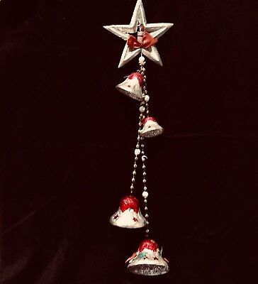 Kitsch FOIL Wrapped BELLS w/ MERCURY GLASS Beads Japan 1950's