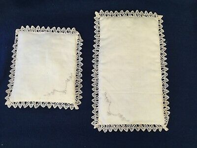 Antique / Vintage • Small Linen PILLOWS w/ TATTING and EMBROIDERY • Ecru • EVC