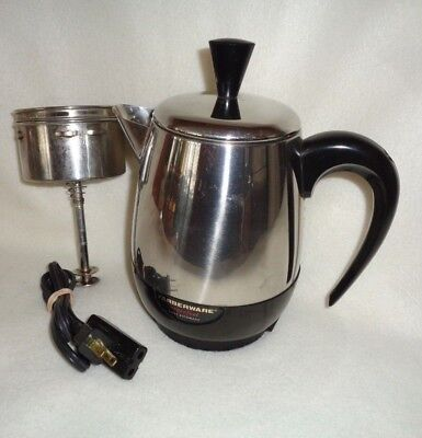 Farberware SUPERFAST 2-4 Cup Stainless Electric Percolator~Coffee Pot #134-B USA