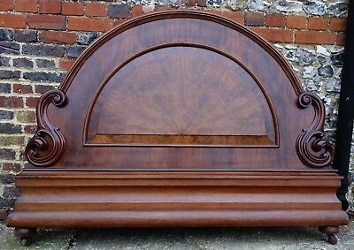 Antique French Small Double Large Single 4 ft Bed End Footboard Venner Carved