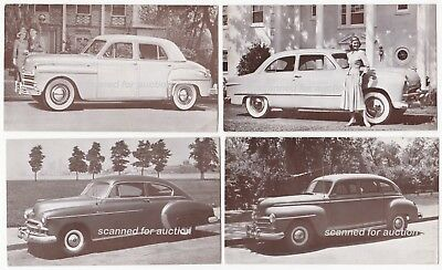 PLYMOUTH, FORD, CHEVROLET - c1940s DEALER SUPPLY POSTCARD LOT (4)