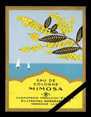 Vintage French Perfume Soap Label: Mimosa Antique Cologne Parfumerie Etoile