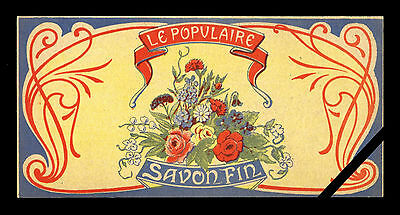 Antique French Perfume/Soap Label: Original Lithograph Early 1900's Le Populaire