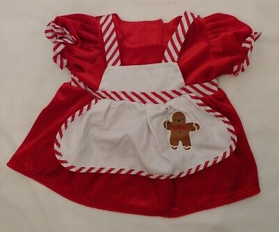 Build-A-Bear Babw Clothing Christmas Dress Mrs Clause Red Apron Gingerbrd Man