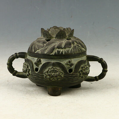 Chinese Rare Bronze Lotus Incense Burner MadeDuring TheQianlong PeriodHST0014+a