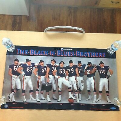 Original Vintage Chicago Bears Black And Blues Brothers Poster.