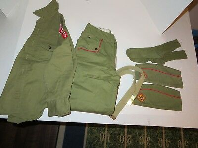 Vintage Boy Scout Uniform-Caps, Belt, Socks, Pants & Shirt w/Some Patches
