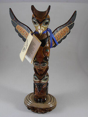 "Ray Moore Alaska Black Diamond Raven Totem Pole Mankind Clamshell Base 14"" Tall"