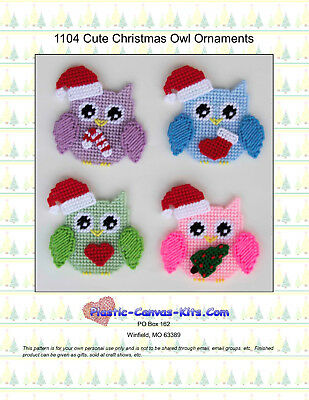 Cute Christmas Owl Ornaments-Plastic Canvas Pattern or Kit