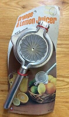 Vintage Cast Aluminum Orange, Lemons, Lime, Hand Held Citrus Squeezer Press NOS