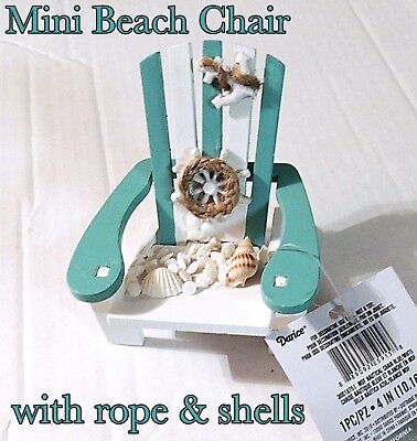 Miniature Adirondack Chair Painted & Decorated Nautical Fairy Garden Dollhouse