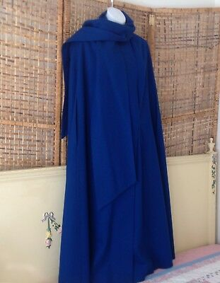 Vintage Royal Blue Merino Wool Long Cape With Scarf