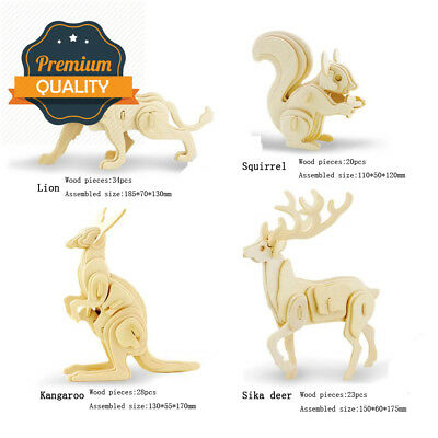Adornlife 4 Piece Set 3D Wooden Animal Puzzle Sika...