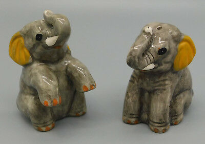 Vintage Ceramic Gray Elephant Salt and Pepper Shakers