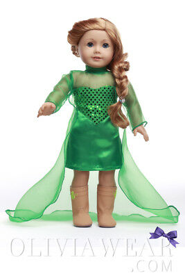 Doll Clothes Fits American Girl 18inch Dress FREE SHIPPING ELSA FROZEN GREEN
