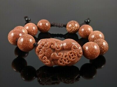 Natural Gold Sandstone 12mm Round Stone Bead Stretch Bracelet with Pixiu