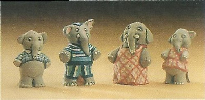 MOULDS ONLY Supercast Mr & Mrs Elephant with Family reusable latex moulds