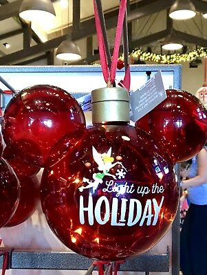 Tinker Bell Light Up Ornament Mickey Icon Globe Christmas Holiday Disney Parks
