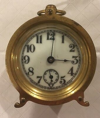 RARE Late 1800s Antique Waterbury Brass Crystal Case Small Round Carriage Clock