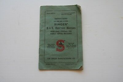 Singer Sewing Machine Instructions for Electric Motors