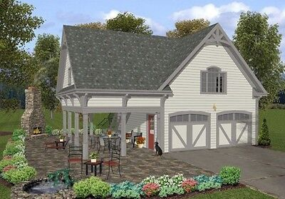 The MORGAN 2 Car Garage w BONUS Space above 646 sq ft   Construction Plans