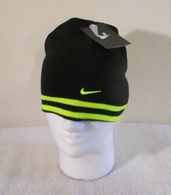 buy online ce915 1081c NWT Nike Youth Boys Reversible Winter Knit Beanie 8 20 Black Volt MSRP 18