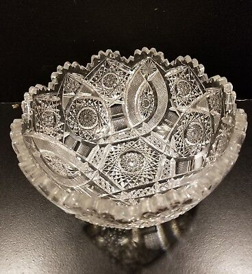 Fine Antique AMERICAN BRILLIANT Cut Crystal Glass Bowl Scalloped