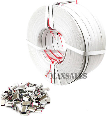 New STRAPPING ROLLS Poly 1706 ft + 600pc STEEL Seals