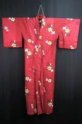 Vintage Japanese Ladies' Deep Red Cotton 'Orchid' Kimono/Robe/Yukata Unlined M/L