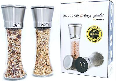 Salt and Pepper Grinders Shaker Set Mill Glass Stainless Steel Modern Spices New