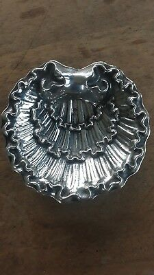 rare Spainish solid sterling silver scallop shell dish