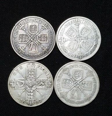 """A Lot of 4 Great Britain One Florin Silver Coin  """" We Combine Shipping """""""