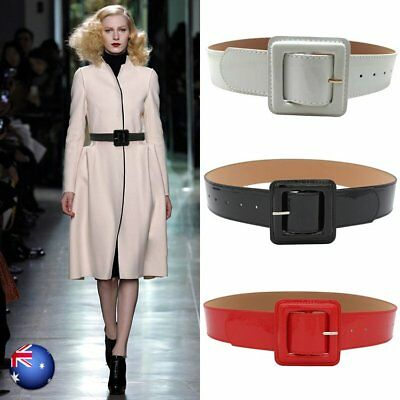 Womens Ladies Wide Belt Faux Leather Look Shiny Retro Waistband Dress Belt Red