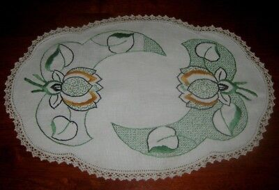 Vintage Hand Embroidered Centre Piece/doily~Flowers/leaves~ Crocheted Edge~Linen