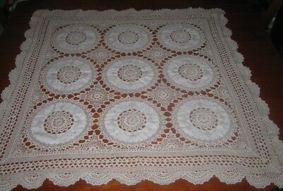 Vintage Crocheted Lace And Cotton Tablecloth ~ Beige ~ Cotton ~ Square