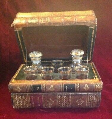 Antique 19th Century French Books Hidden Tantalus Liquor Box Baccarat Crystal