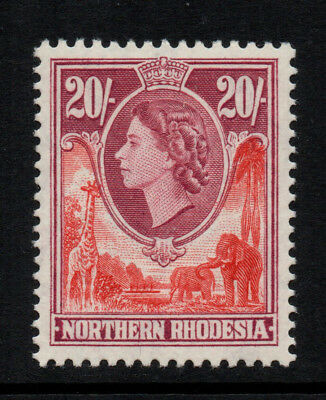 Northern Rhodesia 1953 20/- Rose-Red & Rose-Purple QE2 - SG 74 - LMM