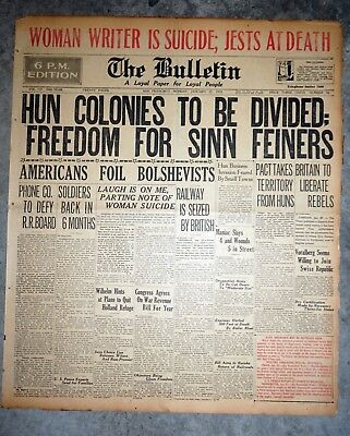 Irish War of Independence Freedom For Sinn Fein - 1919 Newspaper Front Page
