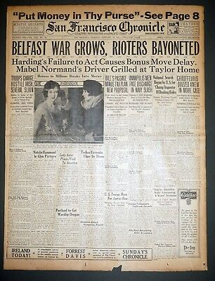 1922 San Francisco Front Page - Belfast Ireland War Grows, Rioters Bayoneted