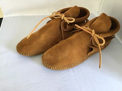 Minnetonka Brown Leather Fringe Ankle Booties Moccasins Womens Size 7