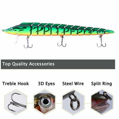 Fishing Lure Bionic Bait Treble Hook Portable Hard Crank multisection split ring