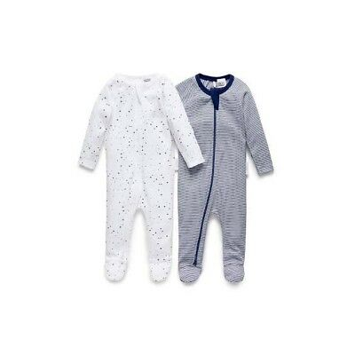 Purebaby 2 pack Zip Suit