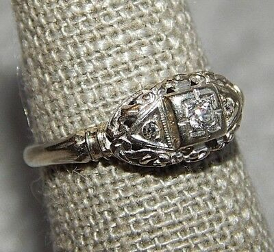 Antique Art Deco Art Nouveau Ring 14k White Gold & 3 Diamonds #027