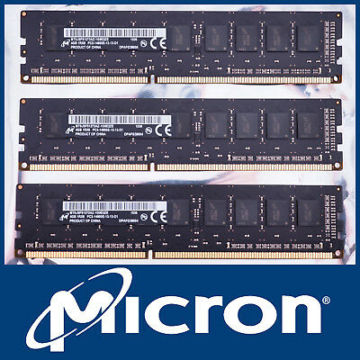 Micron 12Gb Kit 3X 4Gb Ddr3-1866 Pc3-14900E Ecc Server Pc Mac Ram Memory 12800E