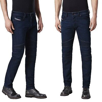 DIESEL Biker-Look Herren Jeans FOURK 084HR Slim-Skinny, Dark-Blue, Stretch-Denim
