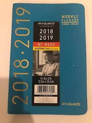 "AT-A-GLANCE Weekly/Monthly Academic Planner, 4 7/8""x8"", Teal July 2018-June 2019"